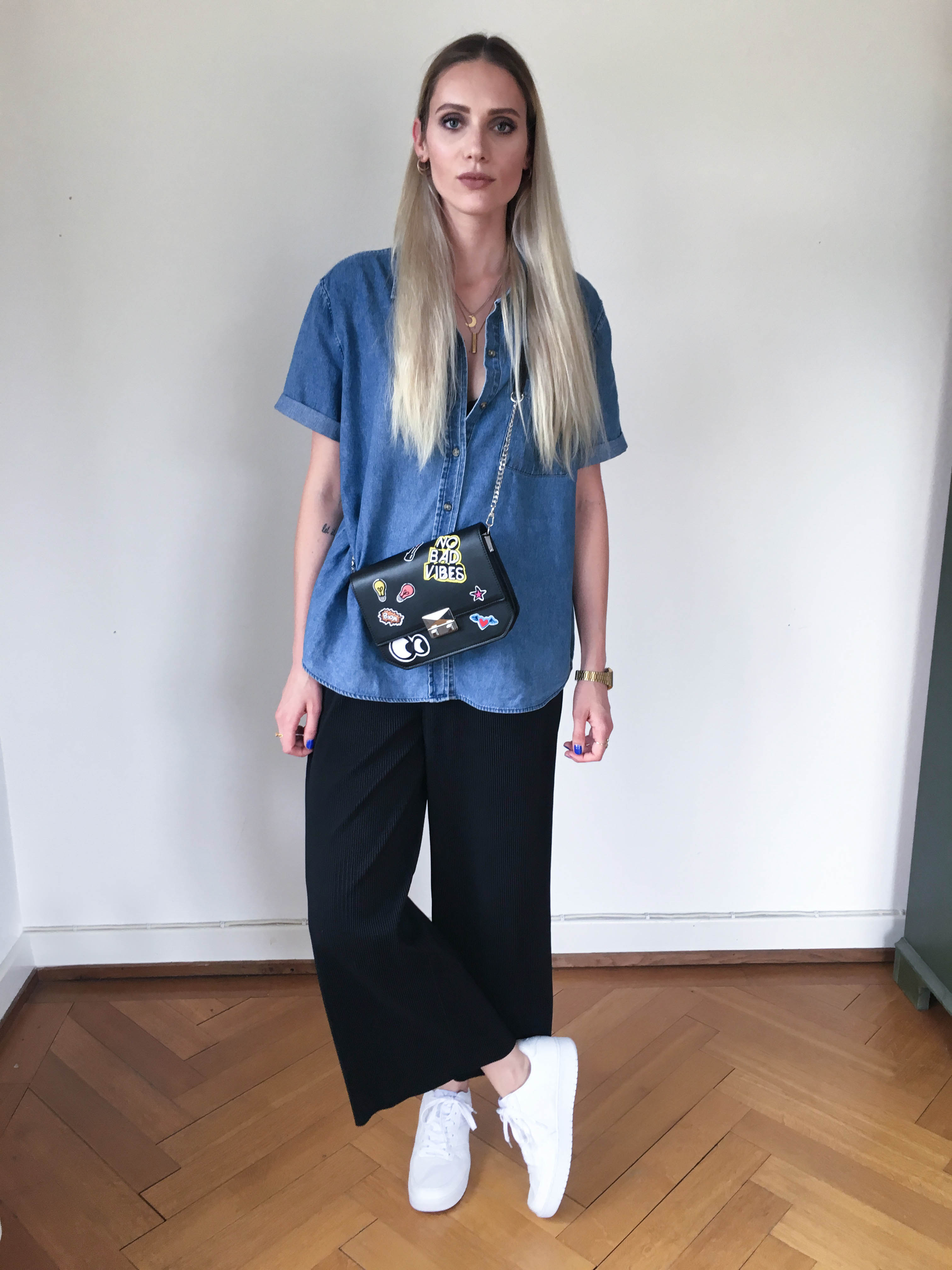jeans, jeansshirt, patches, bag, zara, culottes