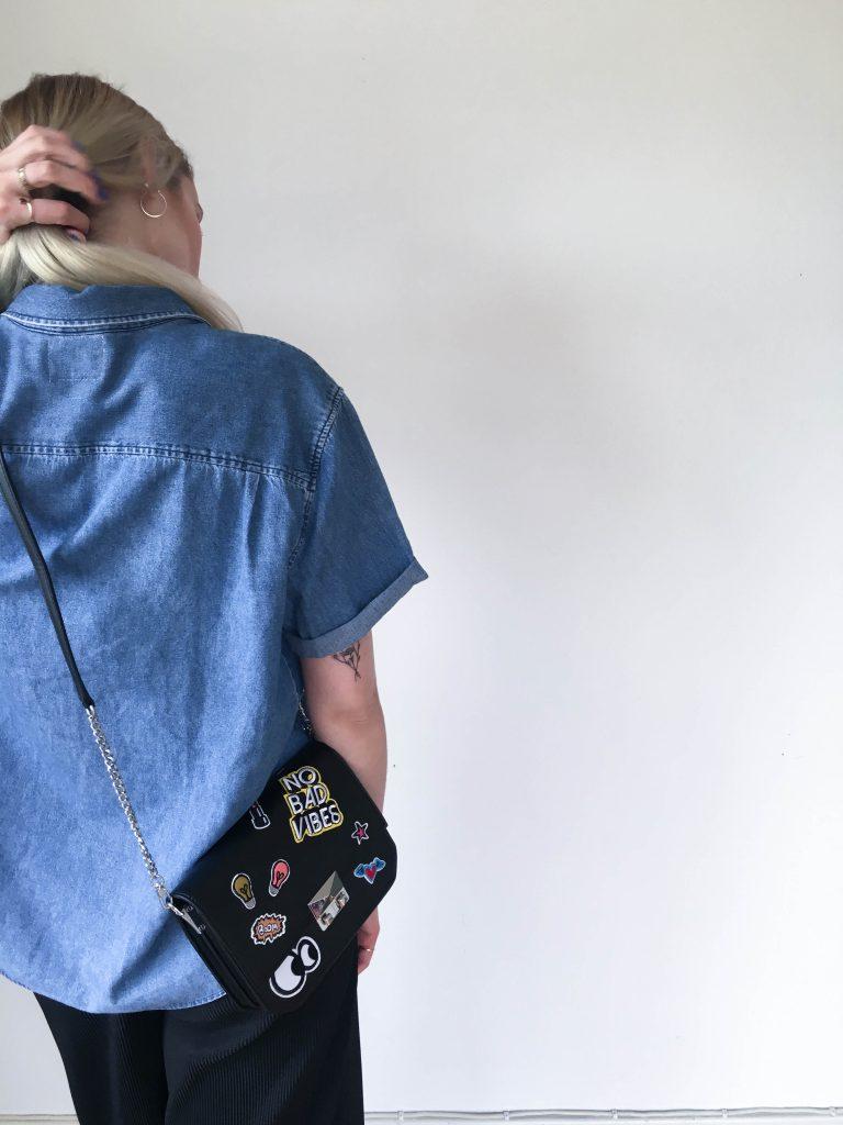 jeans, jeansshirt, patches, bag, zara, culottes